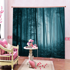 Foggy Dark Forest Foliage Landscape Curtains Art Creative Photo Print For Living Room Bedroom Blackout Drapes Indoor Decor Sets