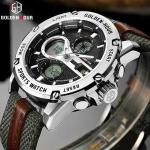 GOLDENHOUR Top Marca Homens Esportes Relógios Mens LED Analógico Relógio Digital Masculino Exército Nylon Strap Quartz Relógio Masculino para Homens