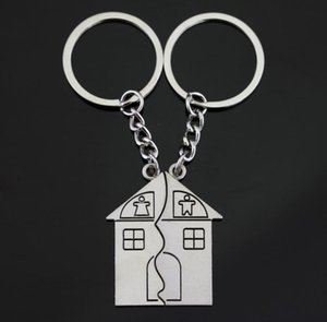 Metal zinc alloy house shape couple keychain sets wedding party favors giveaway gifts for lover guest SN874