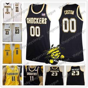 Personalizado Choques de Estado de Wichita Qualquer Nome Qualquer Número Preto de Ouro Branco Personalizado Costurado # 11 Landry Shamet NCAA Colégio Basketball Jersey