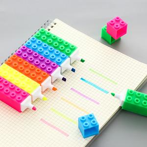 Blocos de construção highlighter Criativo infantil suprimentos puzzle forma quadrada marcador Caneta marcador de grande capacidade