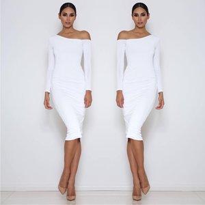 Sexy épaule Oblique Fold robe en molleton gris blanc à manches longues Robes Femme Soirée Robes mi-longueur