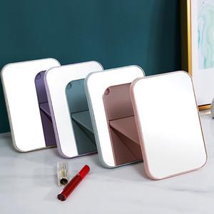 20 adet portatif Makyaj Ayna Seyahat Deri Masaüstü Güçlü Katlanabilir Tablo Kompakt Aynalar Kozmetik Makyaj Ayna Hediye Standı