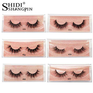 Real Mink Curled Eyelashes 1 Pair Set Natural European and American False Eyelashes