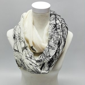 Visual Axles 2020 New Fashion Autumn Animal Pattern Infinity Scarf Abstract Birds On Tree Ring Loop Scarves For Women Ladies