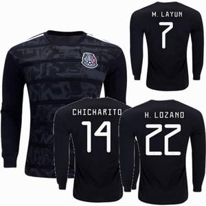 2019 2020 Camisetas de fútbol de manga larga de México 19 20 H.LOZANO O.PERALTA H.HERRERA CHICHARITO RAUL M.LAYUN R.MARQUEZ Camisetas completas de fútbol S-3XL