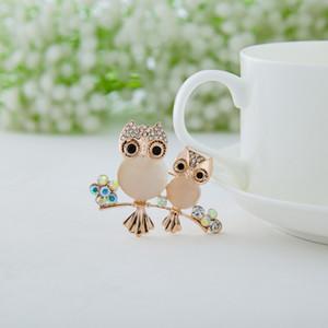 Broche Mode Pins pour les femmes bouquet de mariage Hibou Cristal Broche Pins Femmes Filles Oiseaux Vêtements Bijoux Broche Boucles