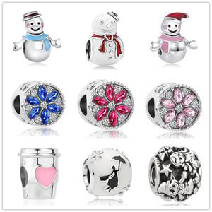 무료 배송 MOQ 20PCS 유럽 크리스마스 겨울 눈사람 눈송이 매력은 여성 J012에 대한 원래 판도라 팔찌 보석 DIY에 맞게 비드