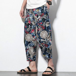 # 4600 Için Geleneksel Çince Pantolon Adam Bağbozumu Pamuk Keten Geniş Bacak Pantolon Çiçek Baskılı Elastik Bel Joggers Artı Boyutu 5XL