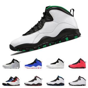 Nouvelles chaussures de basket-ball Hommes 10 10s Seattle Cement Je suis de retour de Chicago Bobcats poudre gris clair bleu gris acier Baskets taille 7-13
