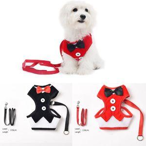 Bowknot Регулируемых Дышащих Pet упряжки для собак Cat Harness жилета с поводком Mesh ткани Собака Pet Harness Lead поводок щенок Pet Vest VT1544