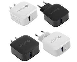 DHL QC3. 0 adattivo di Ricarica Veloce Carica Rapida Travel Adapter casa Caricatore Della Parete US EU Version Per Samsung S8 S9 iPhone X senza pacchetto