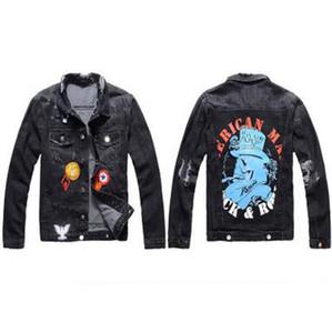 2020 Nuova marca famosa ricamato nero Giacca di jeans Uomini Donne Designer Primavera Autunno Street Wear Biker Jeans Popolare Cappotti Hip Hop Punk
