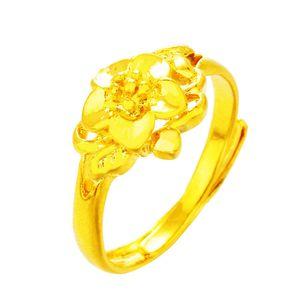 AprilGrass del progettista di marca di sabbia fiore dell'oro che apre l'anello femminile imitazione oro Retro semplice anello femminile Brass Ring Fashion placcato