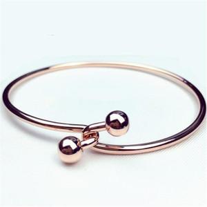 Primavera y verano Girls'Accessories Estilo de moda simple Doble perla Oro rosa Pulsera de aleación Pulsera Moda Edición coreana Joya de mano