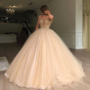 Spaghetti Ball Gown Quinceanera Dresses 2020 Vintage Sequined Beaded Evening Prom Gowns Formal Party Pageant Dress