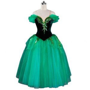 Romântico Ballet Mulheres Desempenho Profissional Ballerina Dress Meninas Dark World Verde Competiton longo vestido Tutu La Sylphide
