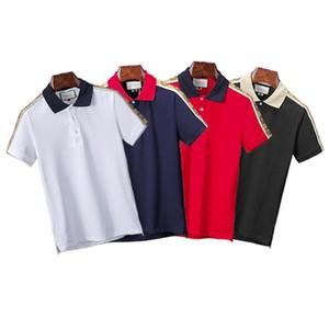 2020 Италия дизайнер рубашки поло Роскошные футболки змея пчелиной цветочной вышивкой мужские Polos High уличной моды полосой печати марка поло футболки