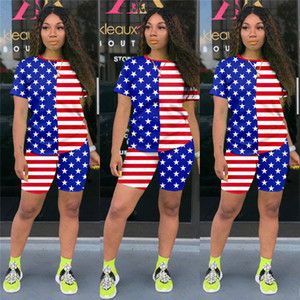 8 Colors Women Summer Shorts Set US USA America Flag Statue of Liberty Printing Tshirts Short Sleeve Sports Casual Outfits TracksuitD52702