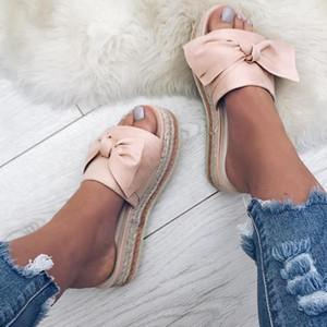WENYUJH Kadınlar Bow Yaz Sandalet Terlik Kapalı Açık Ayaklı-flop Plaj Ayakkabı Moda Kadın Çiçek Terlik Chanclas Mujer