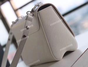2020 الأبيض موضة برنامج التحصين الموسع جلدية سلسلة تويست الكتف حقيبة 50301 نساء من الجلد الحقيقي قفل رفرف حقيبة يد سيدة pochette CROSSBODY حقيبة 50282 الحرة