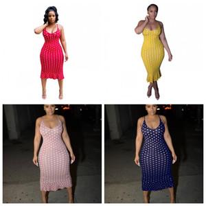 Zahnspange Ärmel Röcke Buntes Print Lange Kleider Tupfen-Mode Sexy Frauen-Sommer-Kleidung nach Hause 28qf E1