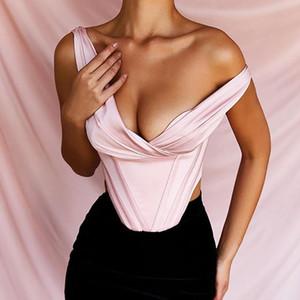 Sexy Blush raso di modo più bustier senza maniche Bassiera ritagliata Feminino Backless sexy 2020 del partito Top Fiesta Mujer Zipper