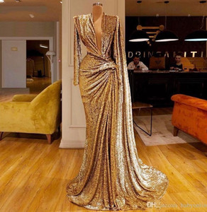 2020 Vintage Sequined Gold Prom Dresses With Deep V Neck Pleats Long Sleeves Mermaid Evening Dress Dubai African Party Gown