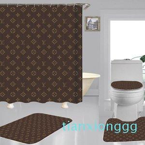 2020 New Custom-made padrões geométricos Impressão de cortina de chuveiro Multi-função impermeável cortina de alta qualidade Covers assento do toalete Definir 3piece