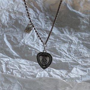 POFUNUO 925 стерлингового серебра женщин Original Design Vintage Do Old Virgin Mary ожерелье Chic шарма сердца дистресс ожерелье