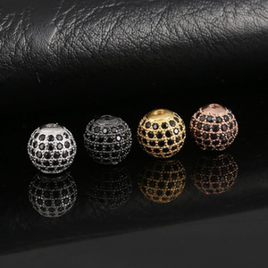 Loose Beads Jewelry Findings Components New Fashion DIY Full Zircon 10mm Gold Silver Plated Alloy Ball Beads