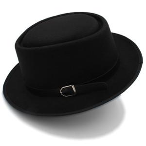 Pie Chapeau De Porc Pour Femmes Hommes Avec Cuir De Mode Pour Papa Laine Plat Fedora Pour Lady Gambler Trilby Chapeau Taille 58CM