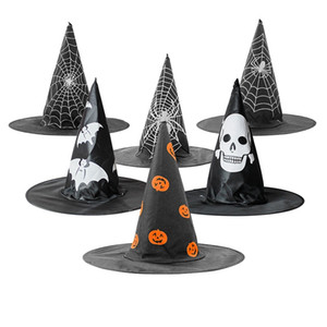 Halloween Props Hat Holiday Party Supplies Pumpkin Web Design Witch Wide Brim Hats Role Play Costume Accessories Cap TTA1942-2