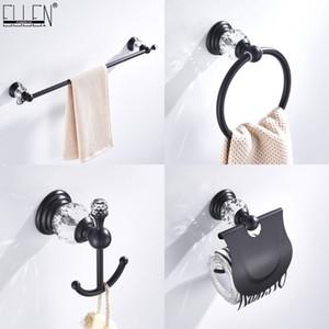 욕실 액세서리 화장실 종이 홀더 타월 홀더 세트 목욕 쇼 타올 링 로브 후크 블랙 크리스탈 하드웨어 ELB85400