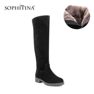 SOPHITINA Schwarz Kid Suede Frau kniehohe Stiefel Round Toe Warm Plüsch Wolle-Pelz-Winter-Aufladungen Massivhandgefertigte Lederschuhe B32 T200111