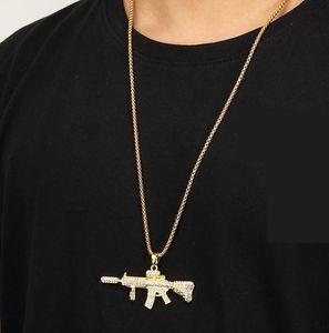 New Colt M4 Carbine-Maschinengewehr-Rapper Halskette Gold Iced Out-Männer Hip-Hop-Halsketten-Ketten-Anhänger Pistole für Rock Rapper