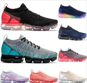 2019 Nuevo Air Cushion 2.0 Running Shoes Olympic Triple White Racer Blue Hot Punch Andar al aire libre Mujeres Hombres Deportes Zapatillas de deporte