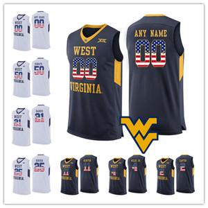 Personalizzato 2019 West Virginia Mountaineers qualsiasi nome Numero Bianco Blu 2 Brandon Knapper McCabe Hunter Harri WVU NCAA College Basketball Jersey