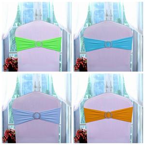 Cubierta de la silla de la boda Bandas de guillotina Elástica pajarita Banquete de boda Silla de cumpleaños Hebilla Fajas Bowknot Decoración Colores disponibles DBC DH0682