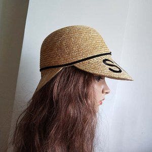Chapeaux de soleil de la mode féminine Mesdames Big Double Brim Chapeau de paille naturelle Sun Lettres Plage Soleil écran extérieur Cap Dropshipping Y19070503