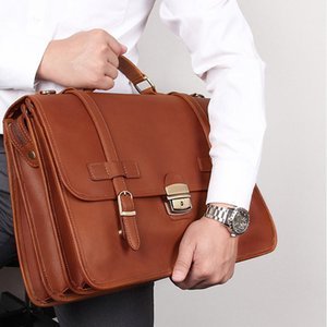 Men Genuine Leather briefcase with dial lock 14 inch laptop Business bag Cowhide Laptop Handbag Mens Work tote big shoulder bag
