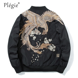 Plegie Printemps High Street Phoenix Manteau De Broderie Plus La Taille Casual Vêtements Outwear Hip Hop Bomber Vestes XS-XXXL Drop shipping
