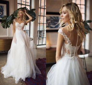 Vintage Spitze appliziert A-Linie böhmischen Tüll Brautkleid Luxus schulterfrei schiere zurück Strand Boho Plus Size Brautkleid