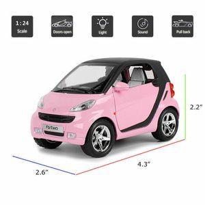 HOMMAT 01:24 Simulação Smart ForTwo Metal Alloy die-cast Veículo Modelo Carro do metal caçoa o presente do carro brinquedos para as crianças puxar para trás Y200318