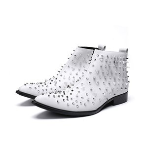 Fashion Genuine Leather Rivet Harness Men Motorcycle Boots Ankle Martin Boots Side Men Shoes