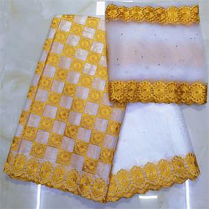 cuenca tela africana Riche Getzner Bazin brode Getzner dentelle tissu nigeriana encaje material de alta calidad 7yard / lotYKB-1