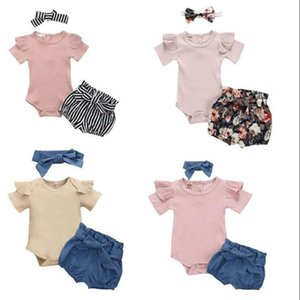 Baby Clothes Girls Solid Rompers Bowknot Denim Shorts Headband Clothing Sets Kids Jumpsuit Floral Printed Shorts Hairband Suits BYP614