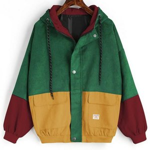 2019 new fashion popular personality women's Fashionable cotton loose coloured cap baseball uniform corduroy zipper overcoat