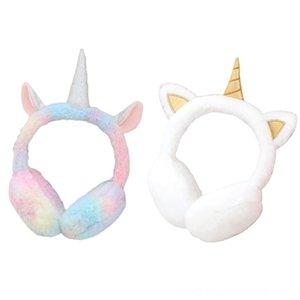 Kış Peluş Unicornmuff Muffs Şapka Caps Şapka, Atkı Eldiven Çocuk Güzel Kış Isıtıcı Kulaklıklar Tavşan Kürk Kalınlaşmak Peluş Unicorn Kulak C