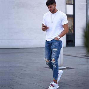 Rip Slim Stretch Denim Détresse Effiloché Biker Jeans Garçons Motifs Brodés Crayon Pantalon Mens Designer Jeans